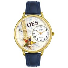 Unisex Order of the Eastern Star Navy Blue Leather and Goldtone Watch in Gold