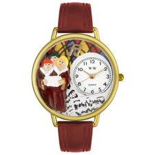 Unisex Choir Burgundy Leather and Goldtone Watch in Gold