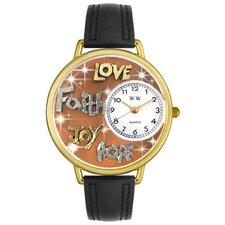 Unisex Faith Hope Love Joy Watch in Gold