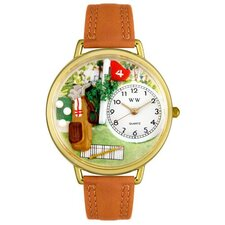 Unisex Golf Bag Tan Leather and Goldtone Watch in Gold