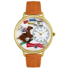 <strong>Whimsical Watches</strong> Unisex Horse Racing Tan Leather and Goldtone Watch in Gold