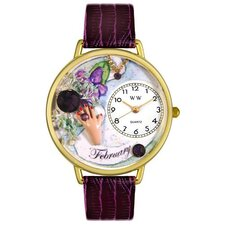 Unisex February Purple Leather and Goldtone Watch in Gold