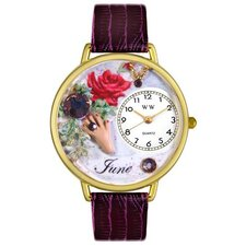 Unisex June Purple Leather and Goldtone Watch in Gold