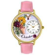 Unisex October Pink Leather and Goldtone Watch in Gold