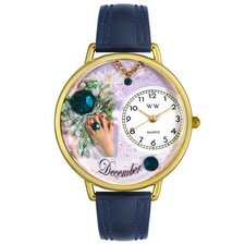 Unisex December Navy Blue Leather and Goldtone Watch in Gold