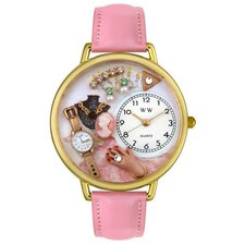 <strong>Whimsical Watches</strong> Unisex Jewelry Lover Pink Leather and Goldtone Watch in Gold
