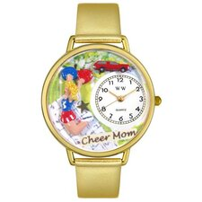<strong>Whimsical Watches</strong> Unisex Cheer Mom Gold Leather and Goldtone Watch in Gold