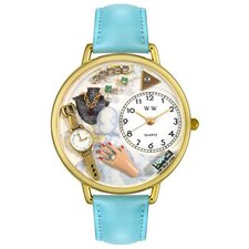 Unisex Jewelry Lover Blue Baby Blue Leather and Goldtone Watch in Gold