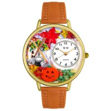 <strong>Whimsical Watches</strong> Unisex Autumn Leaves Tan Leather and Goldtone Watch in Gold