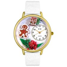 Unisex Christmas Gingerbread White Leather and Goldtone Watch in Gold