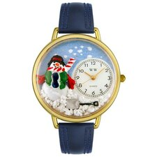 Whimsical Watches Unisex Christmas Snowman Navy Blue Leather and Goldtone Watch in Gold