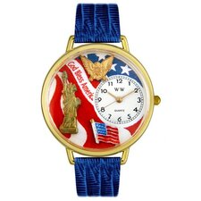 Unisex July 4th Patriotic Royal Blue Leather and Goldtone Watch in Gold