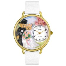 Unisex Teddy Bear Wedding White Leather and Goldtone Watch in Gold