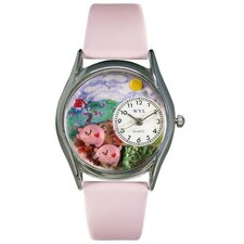 Women's Pigs Pink Leather and Silvertone Watch in Silver