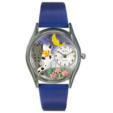 <strong>Whimsical Watches</strong> Women's Cats Night Out Royal Blue Leather and Silvertone Watch in Silver