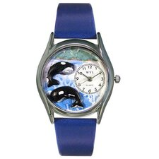 <strong>Whimsical Watches</strong> Women's Whales Royal Blue Leather and Silvertone Watch in Silver