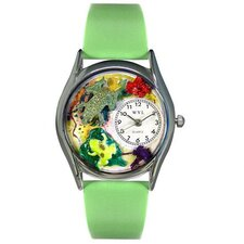<strong>Whimsical Watches</strong> Women's Frogs Green Leather and Silvertone Watch in Silver