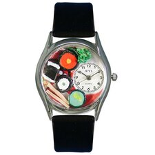 "Women""s Sushi Black Leather and Silvertone Watch in Silver"