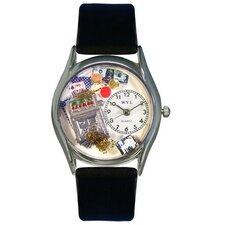 "Women""s Casino Black Leather and Silvertone Watch in Silver"