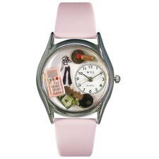 "Women""s Teen Girl Pink Leather and Silvertone Watch in Silver"