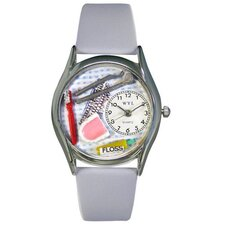 "<strong>Whimsical Watches</strong> Women""s Dentist Baby Blue Leather and Silvertone Watch in Silver"