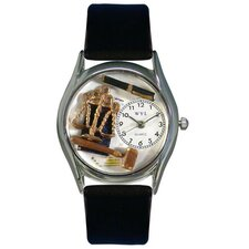 "Women""s Lawyer Black Leather and Silvertone Watch in Silver"