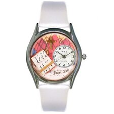 "Women""s John 3:16 White Leather and Silvertone Watch in Silver"