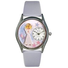 "Women""s Angel Baby Blue Leather and Silvertone Watch in Silver"