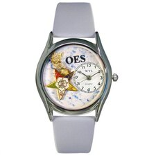 "Women""s Order of the Eastern Star Baby Blue Leather and Silvertone Watch in Silver"