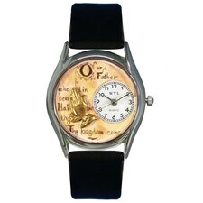 <strong>Whimsical Watches</strong> Women's Lord's Prayer Black Leather and Silvertone Watch in Silver