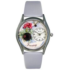 Women's January Baby Blue Leather and Silvertone Watch in Silver