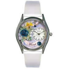 Women's March White Leather and Silvertone Watch in Silver
