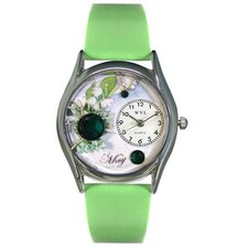 <strong>Whimsical Watches</strong> Women's May Green Leather and Silvertone Watch in Silver