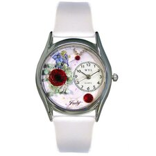 Women's July White Leather and Silvertone Watch in Silver