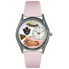Women's Jewelry Lover Pink Leather and Silvertone Watch in Silver