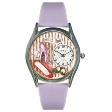 Women's Shoe Shopper Lavender Leather and Silvertone Watch in Silver