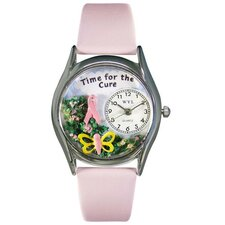 Watches Women's Time For The Cure Pink Leather and Silvertone Watch in Silver