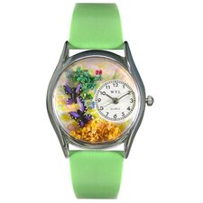 Women's Butterflies Green Leather and Silvertone Watch in Silver