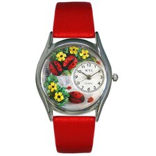 Women's Ladybugs Red Leather and Silvertone Watch in Silver