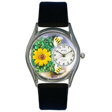 <strong>Whimsical Watches</strong> Women's Sunflower Black Leather and Silvertone Watch in Silver