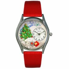 Women's Christmas Tree Red Leather and Silvertone Watch in Silver