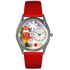 Women's Christmas Nutcracker Red Leather and Silvertone Watch in Silver