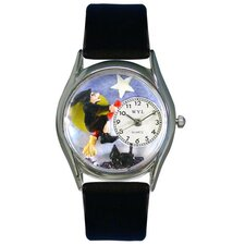 Women's Halloween Flying Witch Black Leather and Silvertone Watch in Silver