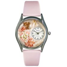 <strong>Whimsical Watches</strong> Women's Valentine's Day Pink Leather and Silvertone Watch in Silver