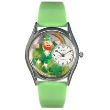 <strong>Whimsical Watches</strong> Women's St.Patrick's Day Rainbow Green Leather and Silvertone Watch in Silver