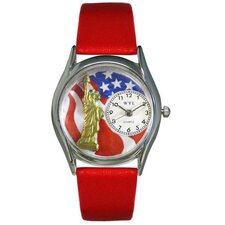 Women's July 4th Patriotic Red Leather and Silvertone Watch in Silver