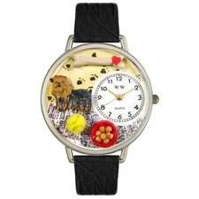 <strong>Whimsical Watches</strong> Unisex Yorkie Black Skin Leather and Silvertone Watch in Silver