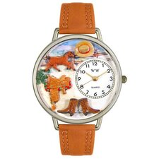 Unisex Ranch Tan Leather and Silvertone Watch in Silver