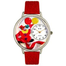 Unisex Happy Red Clown Red Leather and Silvertone Watch in Silver