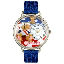 Unisex Patriotic Teddy Bear Royal Blue Leather and Silvertone Watch in Silver